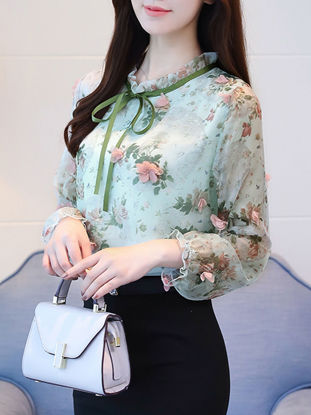 Picture of Women's Blouse Applique Flowers Decor Stand Collar Top
