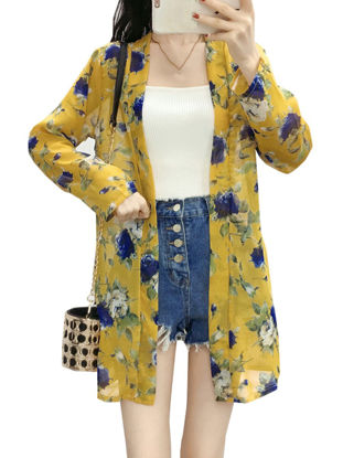 Picture of Women's Sun Proof Coat Open Front Long Sleeve Floral Printed Long Outwear