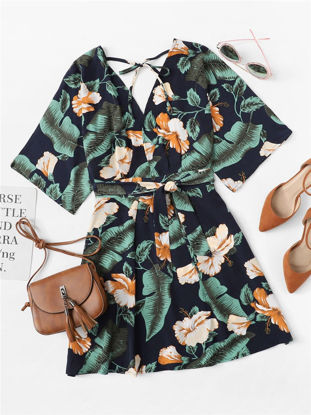صورة Women's Aline Dress V-Neck Floral Print Belt Batwing Sleeve Dress