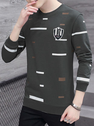 صورة Men's Sweatshirt Long Sleeve Casual Geometric Color Block Sweatshirt