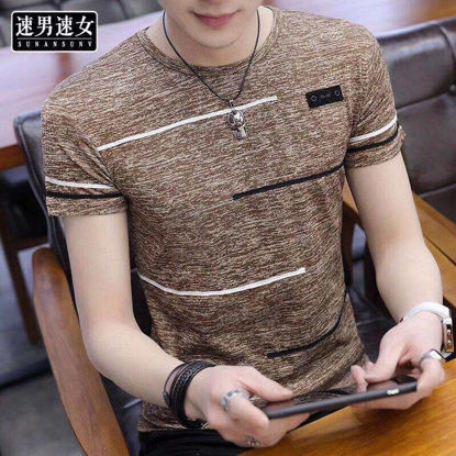 صورة Men's T Shirt Color Block Stripes O Neck Short Sleeve Top