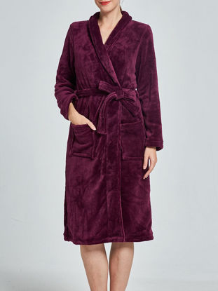 صورة Women's Sleepwear Solid Color Elegant Turn Down Collar Long Sleeve Flannel Robe