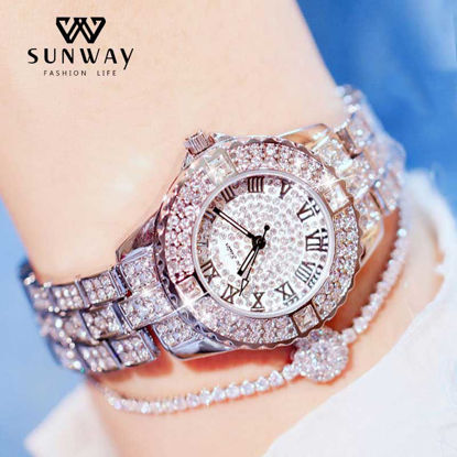 Picture of 1 Pc Women's Watch Delicate Rhinestone Ladylike Fashion Watch Accessory