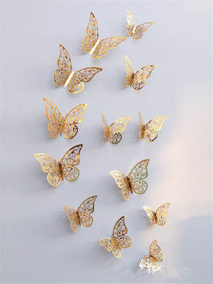 Picture of 12Pcs Wall Stickers Romantic Hollowed Metallic Butterfly Stickers