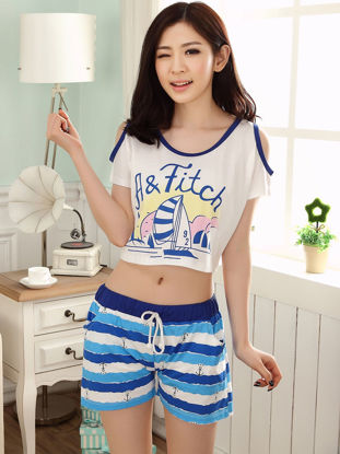 صورة Couple's Pajamas Set Striped Cartoon Pattern Short Sleeve Home Shorts Sleepwear
