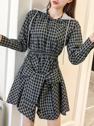 صورة Women's Dress Long Sleeve Plaid Pattern Hooded Ethnic Dress