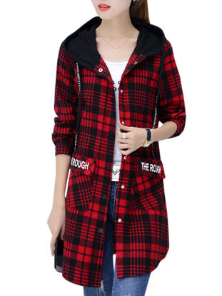 Picture of Women's Bomber Jacket Hooded Plaid Letter Long Sleeve Coat