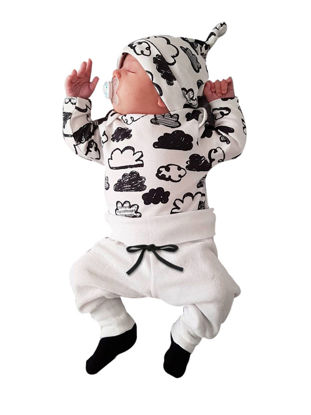 Picture of 3Pcs Baby's Clothing Set Long Sleeve Cloud Printed T Shirt Comfy Pants And Hat Kit