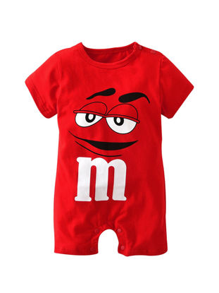 صورة Baby's Rompers Solid Color Cute Cartoon Pattern Short Sleeve Comfy Jumpsuit