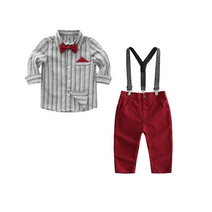 صورة Boy's 2 Pcs Set Striped Shirt and Solid Color Suspender Trousers Set