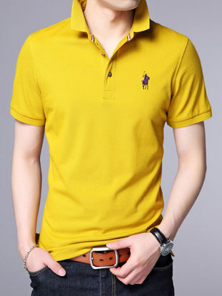 صورة Men's Polo Shirt Solid Color Short Sleeve Turn Down Collar Slim Fashion Top
