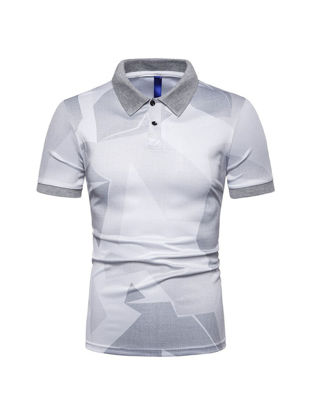 صورة Men's Polo Shirt All-Match Printed Short Sleeve Simple Top