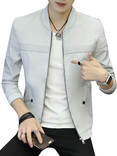 صورة Men's Casual Jacket Comfy Zipper Solid Color Long Sleeve Jacket