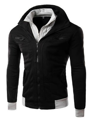 Picture of Men's Casual Jacket Hooded Long Sleeve Patchwork Pattern Zipper Decor Jacket
