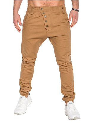 Picture of Men's Casual Pants Solid Color Elastic Waist Breathable Fashion Pants