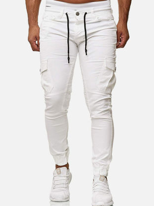 Picture of Men's Casual Pants Fashion Pocket Drawstring Trousers