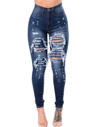 Picture of Women's Jeans Holes Decor Frayed High Waist Skinny Denim Pants