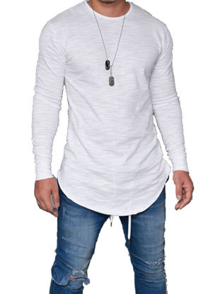 صورة Men'sT Shirt  Solid Color Long Sleeve Design Fashion Top