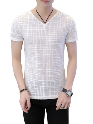صورة Men's T Shirt Slim V Neck Short Sleeve Top