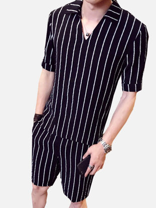 Picture of Men's 2Pcs Shorts Set V Neck T Shirt Striped Casual Shorts Suit