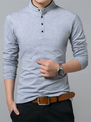 صورة Men's Polo Shirt Solid Color Casual Light Weight Long Sleeve Polo Shirt