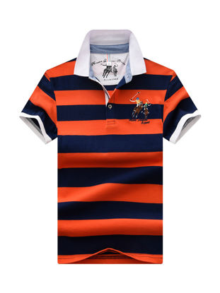 صورة Men's Polo Shirt Letter Print Striped Top
