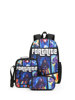 صورة 3Pcs Men's Backpack Set Contrast Color Print Large Capacity Sports Bags Set