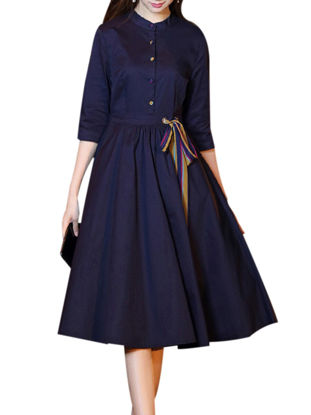 صورة Women's Dress Stand Collar Three Quarters Sleeve Solid Color Midi Aline Dress