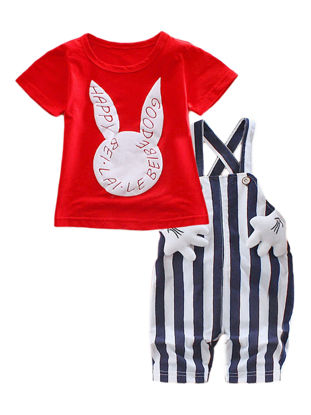 Picture of Baby Girl's Set 2 Pcs Cartoon Rabbit Stripe Baby's Set