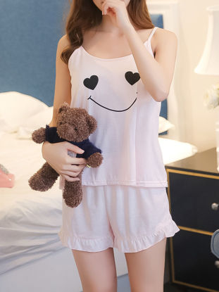 صورة Women's Pajamas Set O Neck Camisole Ruffles Hem Home Shorts Set