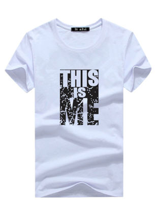صورة Men's T Shirt O Neck Short Sleeve Print Letter Cozy Top