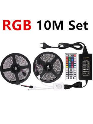 Picture of 5050 RGB LED Strip DC 12V 10M Flexible RGB LED Strips Light With 5A Power And Remote Control