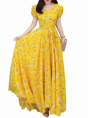 صورة Women's Aline Dress Floral V Neck Short Sleeve Maxi Long Dress