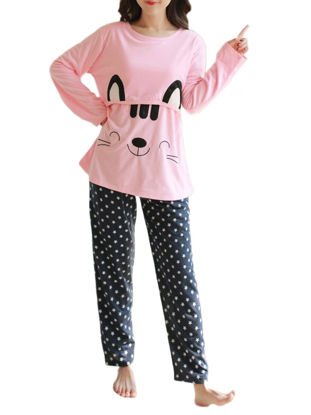 صورة Maternity Pajama Set 2 Pcs Lovely Cartoon Pentagram Pattern Nursing Maternity Clothes