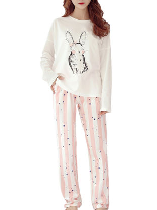 صورة Maternity Pajamas 2Pcs Cartoon Pattern O Neck Top Stripes Casual Trousers