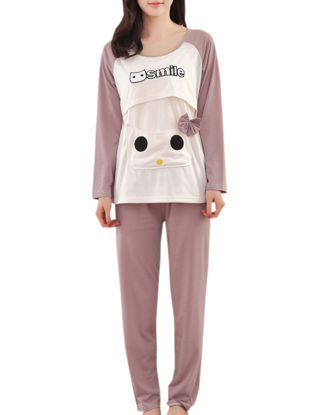 صورة 2Pcs Maternity Pajamas Set Cartoon Likable Animals Design Sleepwear Set