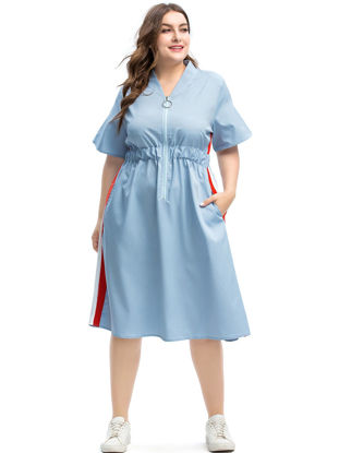 صورة Women's Plus Size Aline Dress Striped Zipper Pocket Fashion Midi Dress