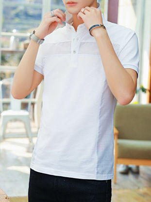 صورة Men's Polo Shirt Turn Down Collar Striped Pattern Short Sleeve Comfy Top