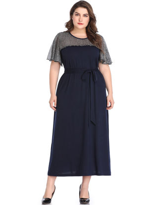 صورة Women's Aline Dress Plus Size O Neck Patchwork Top
