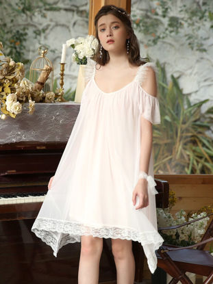 صورة Women's Home Dress Hollow Shoulder Lace Patchwork Sweet Sleep Dress