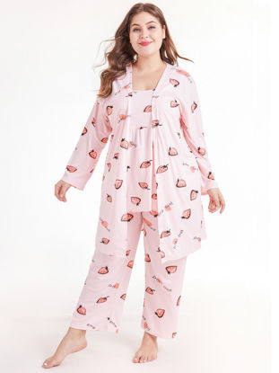 صورة Women's 3Pcs Sleepwear Set Plus Size Sweet Style Camisole Home Pants Sleep Robe Set