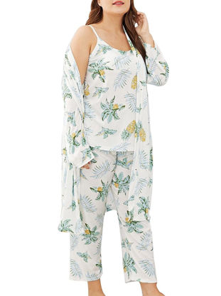 صورة Women's 3Pcs Sleepwear Set Plus Size Pineapple Pattern Camisole Home Robe Pants Set