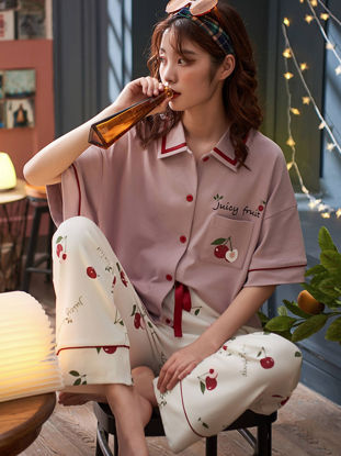 صورة Women's Pajamas Set Comfy Printed Ladylike Home Pants Set