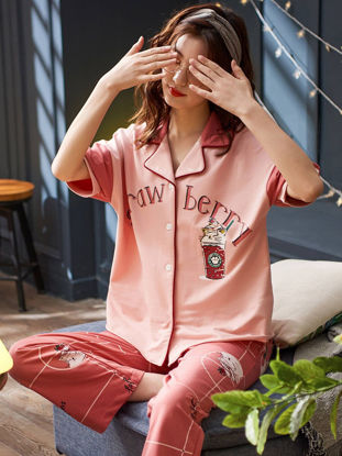 صورة Women's Pajamas Set Sweet Short Sleeve Turn Down Collar Casual Home Set