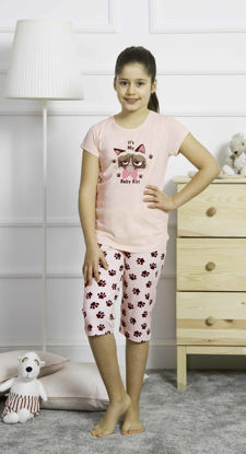 Picture of ENKI GIRLS COTTON SOFT PINK CAPRI SET