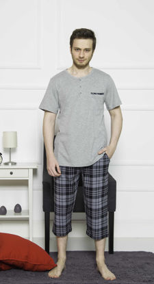 Picture of ENKI MEN COTTON GRAY MELANGE CAPRI SET