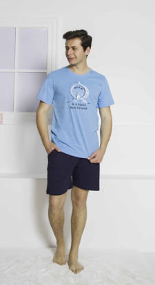 Picture of ENKI MEN COTTON BLUE SHORTS SET