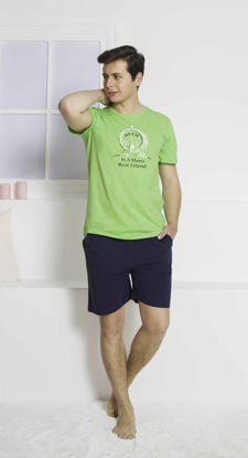 Picture of ENKI MEN COTTON GREEN SHORTS SET