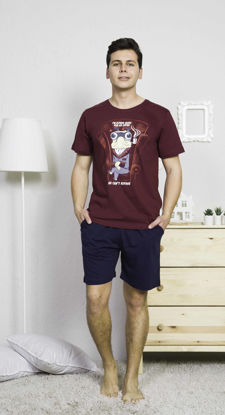 Picture of ENKI MEN COTTON BORDEAUX SHORTS SET