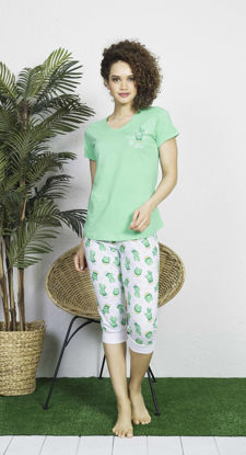 Picture of ENKI WOMEN COTTON SPRINGGREEN CAPRI SET